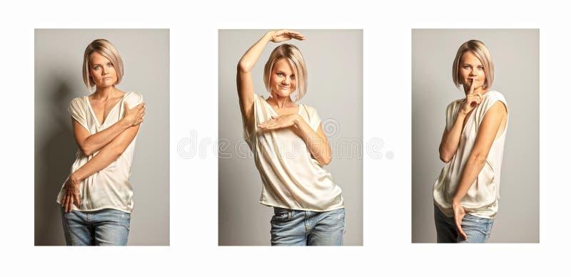En grupp av bilder av en ung härlig kvinna royaltyfria bilder