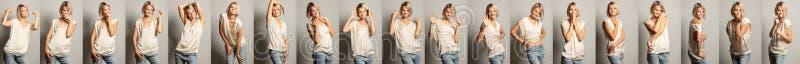 En grupp av bilder av en ung härlig kvinna med olika sinnesrörelser arkivfoton