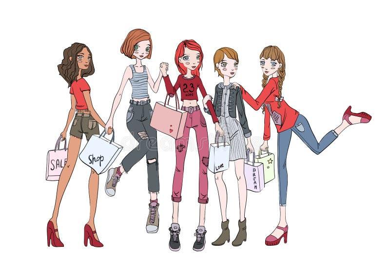 En grupp av flickor med shoppingpåsar i händer Vektorillustration som isoleras på vit bakgrund stock illustrationer