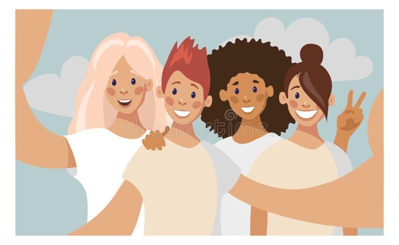 En grupp av fyra unga flickor som tar ett foto med en smartphone stock illustrationer