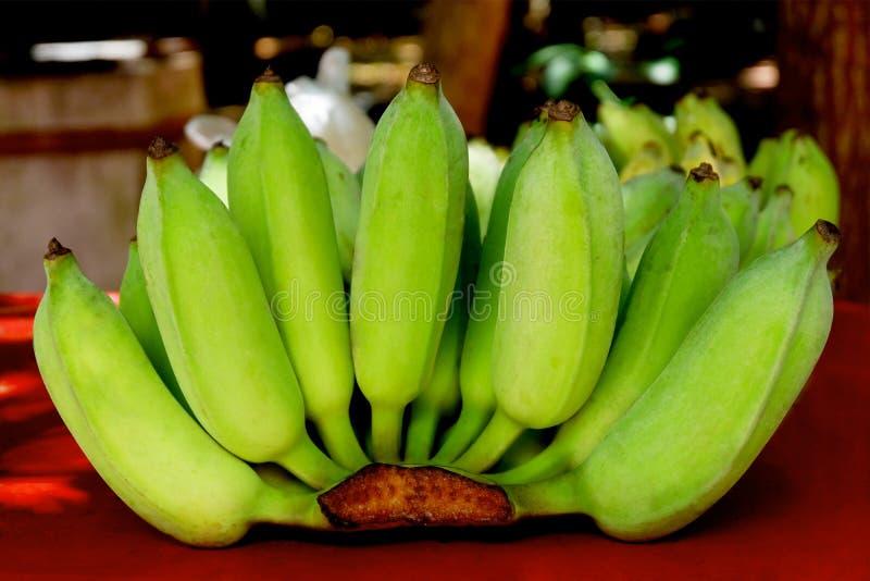 En grupp av gröna bananer på den lokala marknaden arkivfoton
