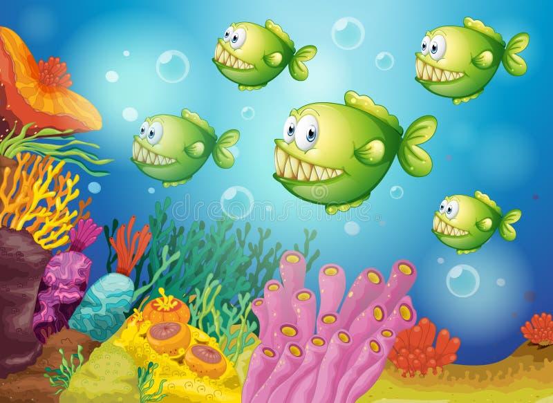 En grupp av gröna piranhas under havet vektor illustrationer