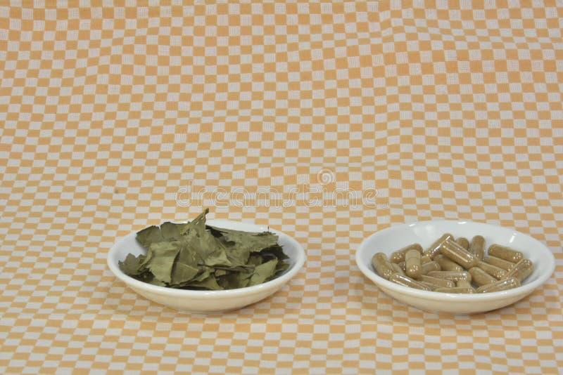 En grupp av grönt te, på bladkapslar eller piller på disk arkivfoton