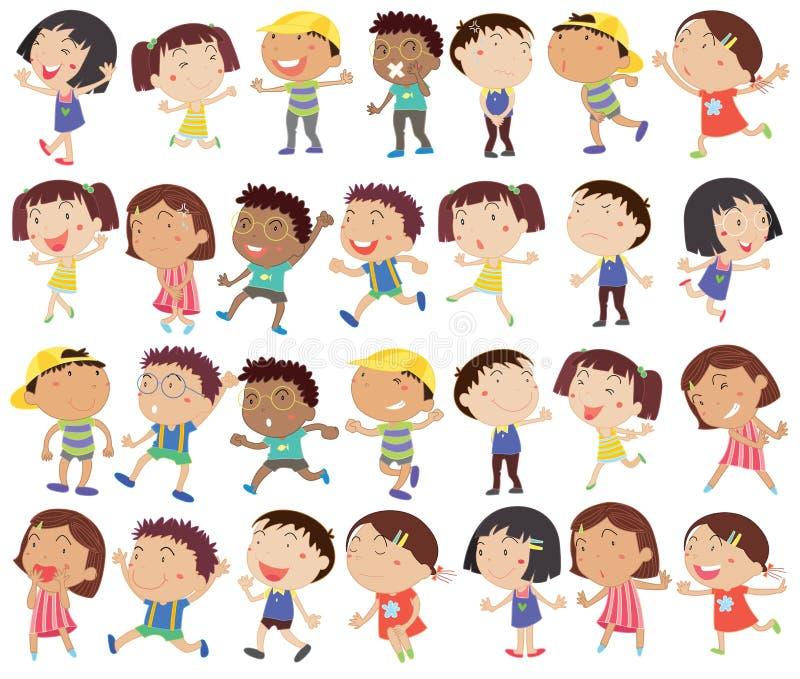 En grupp av lyckliga ungar stock illustrationer