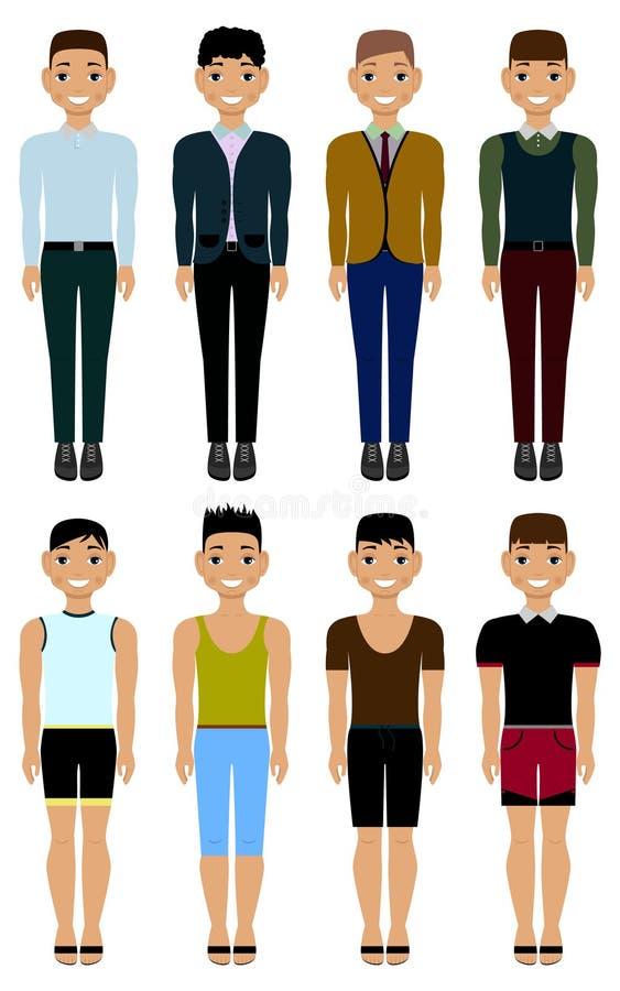 En grupp av män i tillfällig kläder vektor royaltyfri illustrationer