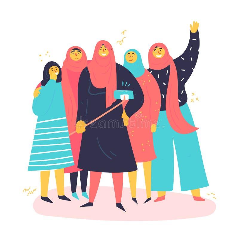 En grupp av muslimska kvinnor tar selfies royaltyfri illustrationer