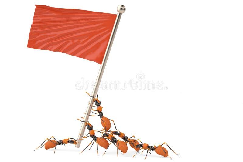 En grupp av myror med den röda flaggan illustration 3d stock illustrationer