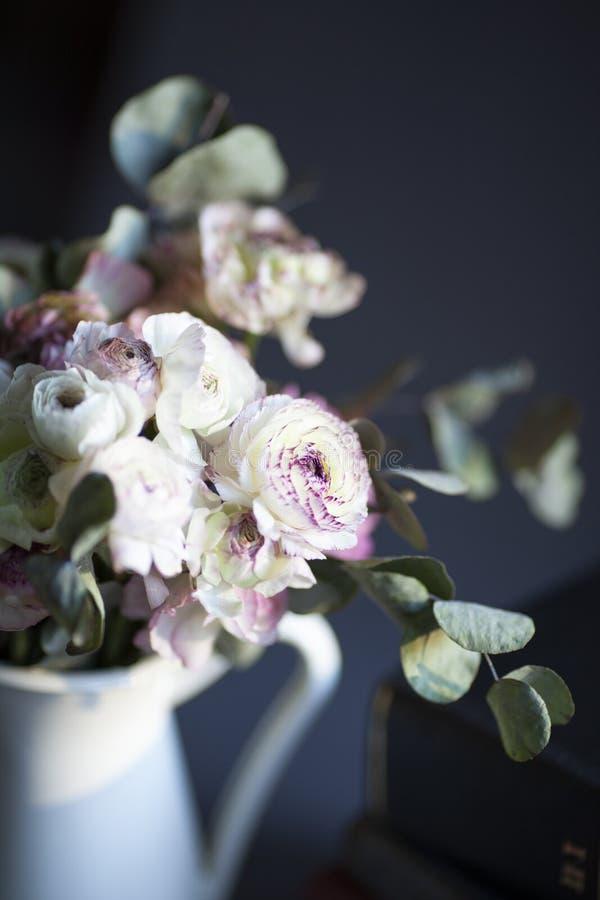 En grupp av pionen blommar i vas royaltyfri fotografi