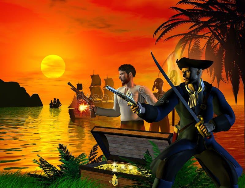 En grupp av piratkopierar ankommer på ön som söker för skatten, illustrationen 3d stock illustrationer