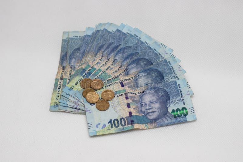 En grupp av s?dra - afrikansk valuta royaltyfria foton
