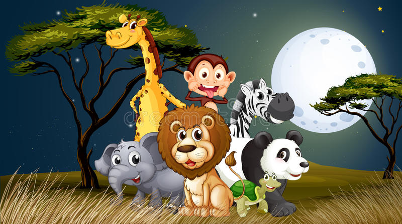 En grupp av skämtsamma djur under den ljusa fullmoonen stock illustrationer