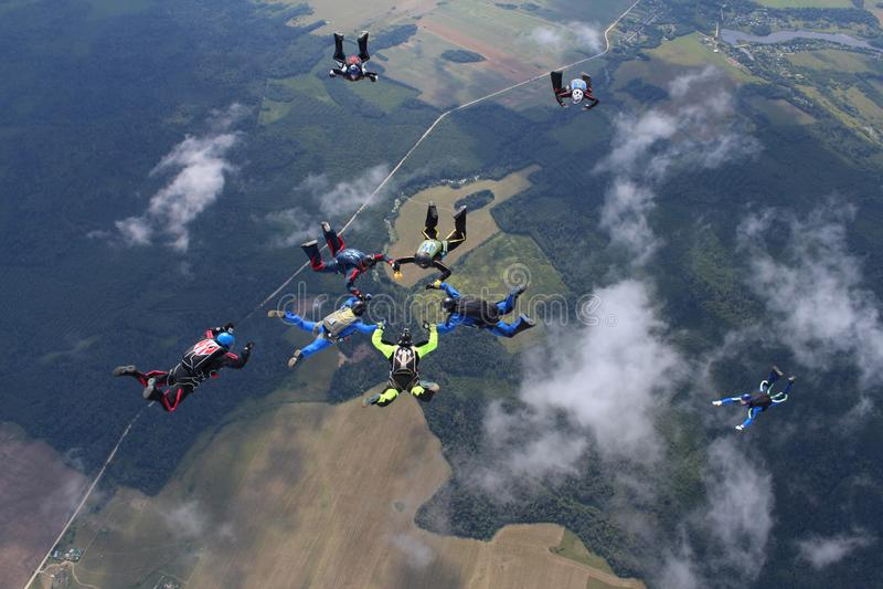 En grupp av skydivers Att hoppa med fritt fall är i himlen royaltyfria foton