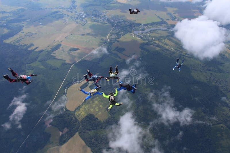 En grupp av skydivers Att hoppa med fritt fall är i himlen royaltyfri fotografi