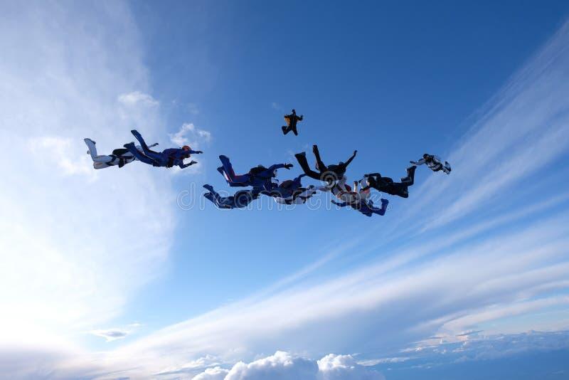 En grupp av skydivers Hoppa med fritt fall i den fantastiska himlen royaltyfri foto