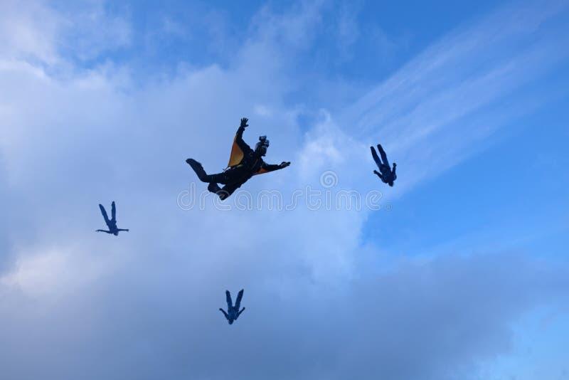 En grupp av skydivers Hoppa med fritt fall i himlen fotografering för bildbyråer