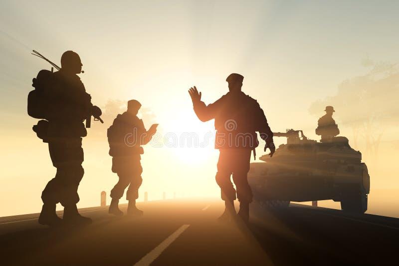En grupp av soldater vektor illustrationer