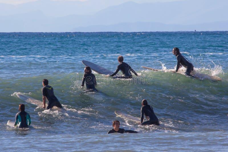 En grupp av surfare väntar på vågen royaltyfri foto