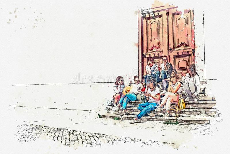 En grupp av tonårs- flickor eller studenter eller flickvänner sitter tillsammans och talar royaltyfri illustrationer