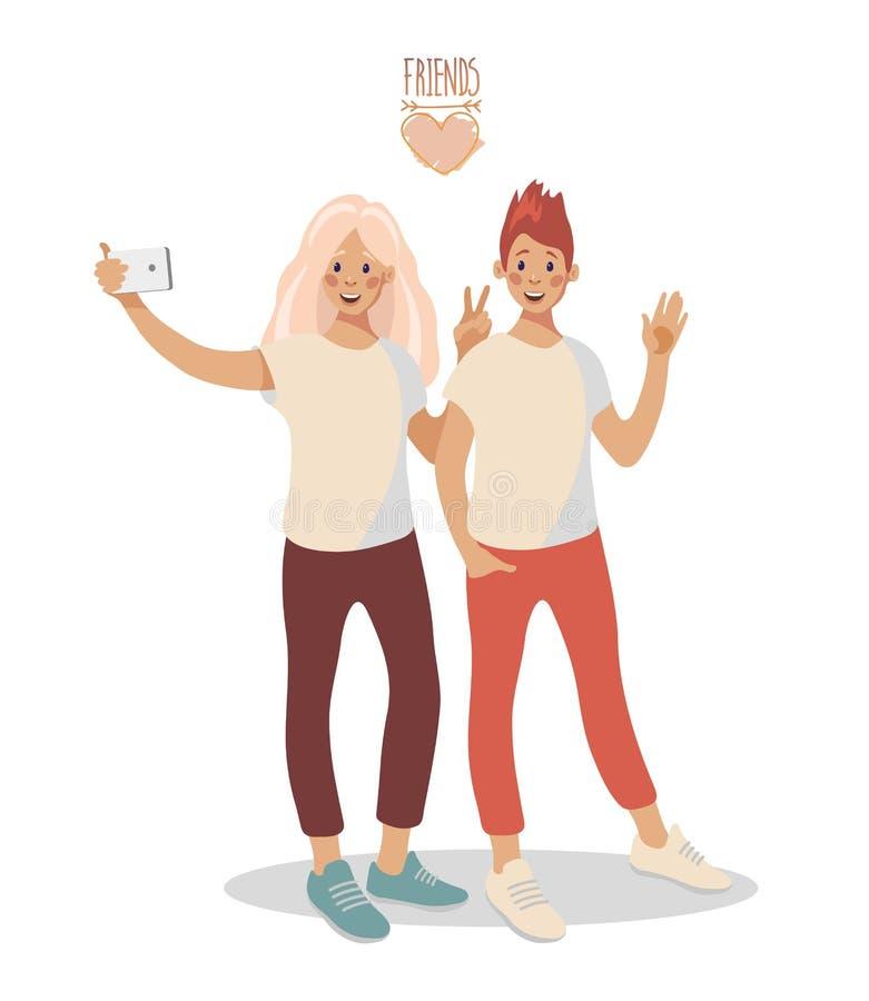 En grupp av två unga lyckliga flickor som tar selfie på en smartphone vektor illustrationer