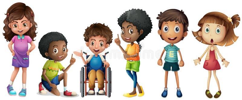 En grupp av ungar stock illustrationer