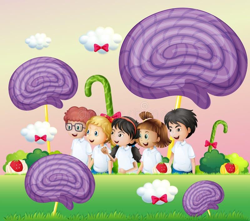En grupp av ungar på candylanden stock illustrationer