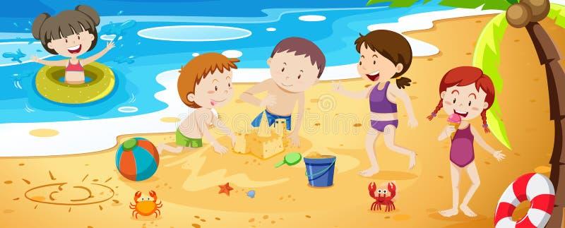 En grupp av ungar som spelar bredvid stranden royaltyfri illustrationer