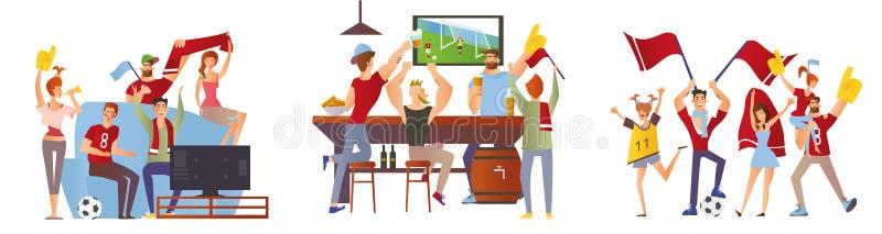 En grupp av vänner, fotbollsfan som hurrar för deras favorit- fotbollslag Män och kvinnor håller ögonen på fotboll på stadion stock illustrationer
