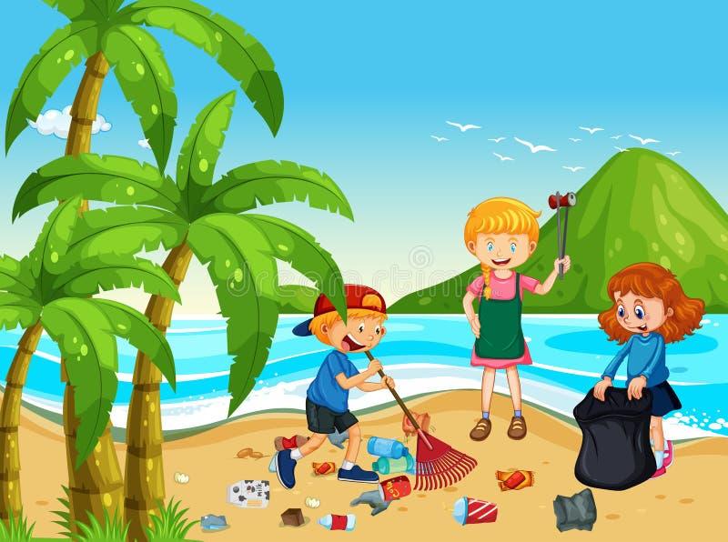 En grupp av volontärbarn som gör ren stranden stock illustrationer