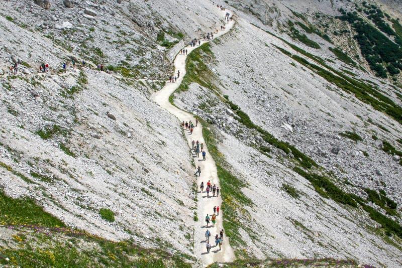 En grupp människor med ryggsäckar som promenerar banan, Dolomites, Italien royaltyfri fotografi