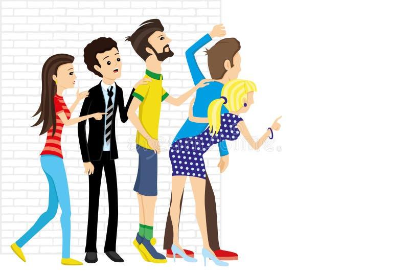 En grupp människor som ut kikar royaltyfri illustrationer