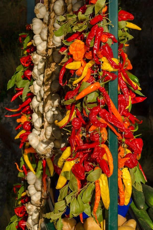 En grupp med lantgårdgrönsaker, peppar, vitlök och lagerbladar, kroatisk matmarknad i sommar royaltyfri bild
