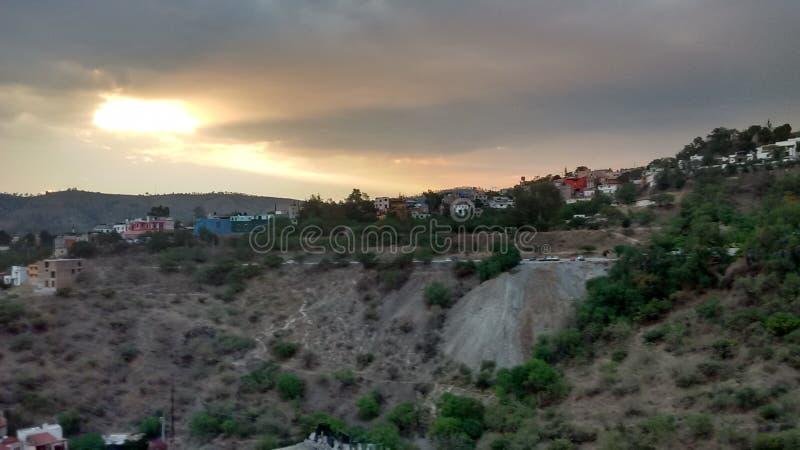En Guanajuato de Atardecer y x28; Puesta del sol en Guanajuato& x29; foto de archivo libre de regalías