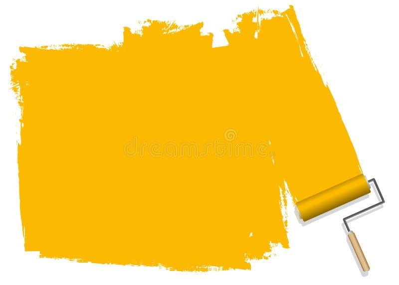 En gul bakgrund som målas med en rulle vektor illustrationer