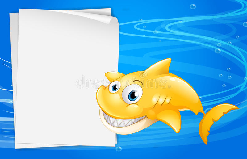 En gul fisk bredvid ett tomt papper stock illustrationer