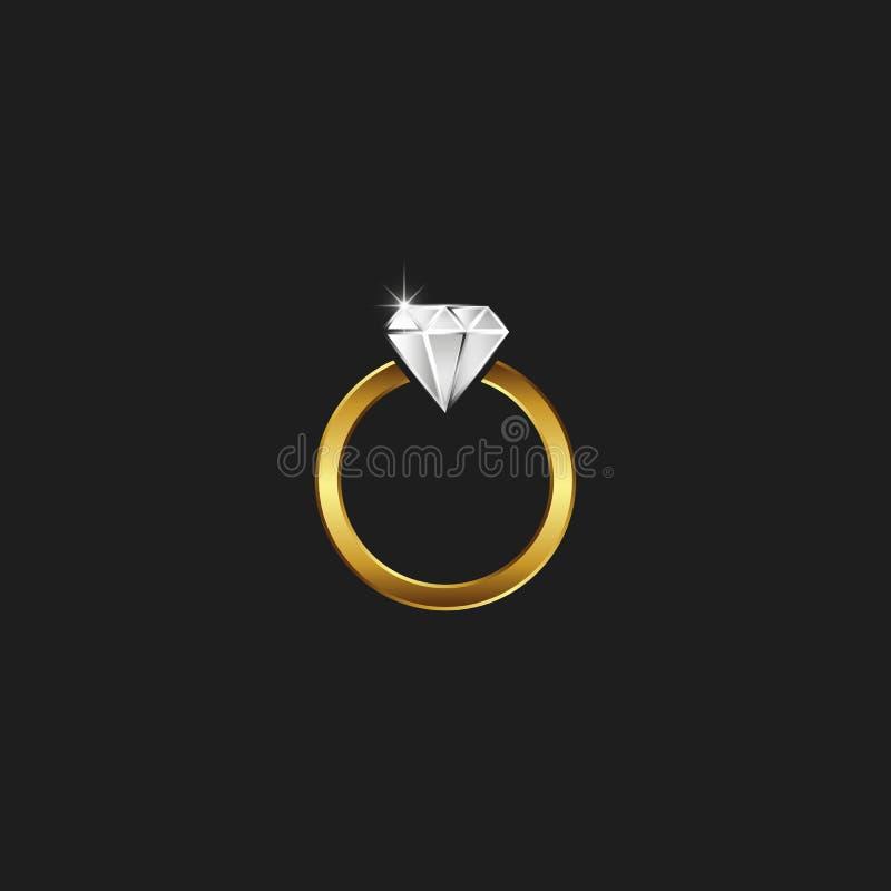 En guld- cirkel med en diamantlogo, en mousserande juvel i en guld- ram, det rena emblemet av ett smyckenseminarium stock illustrationer