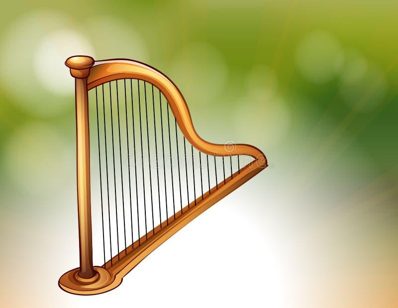 En guld- harpa vektor illustrationer