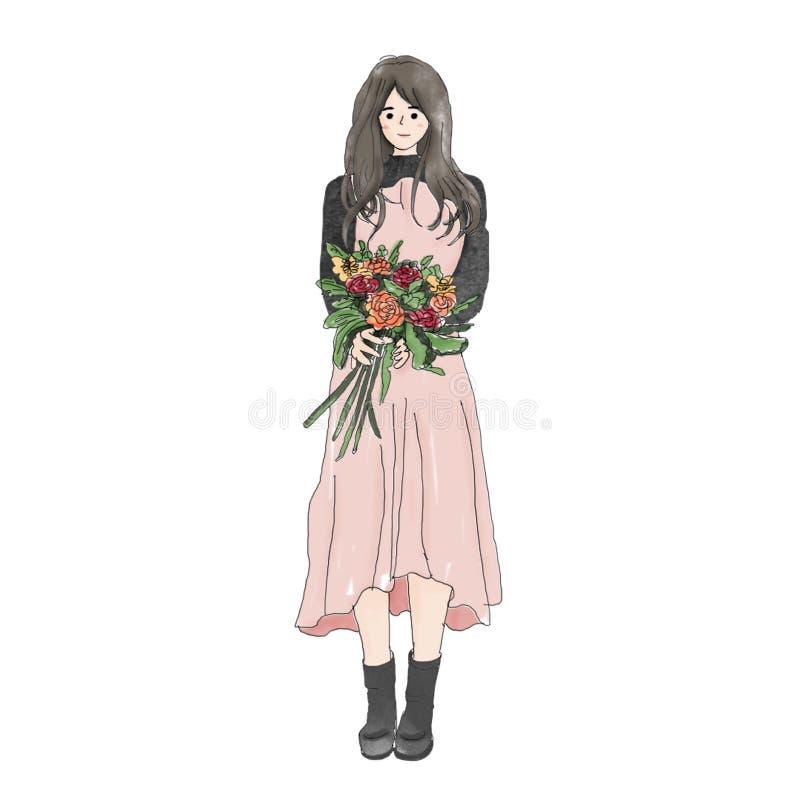 En gullig asiatisk flicka med blomman stock illustrationer
