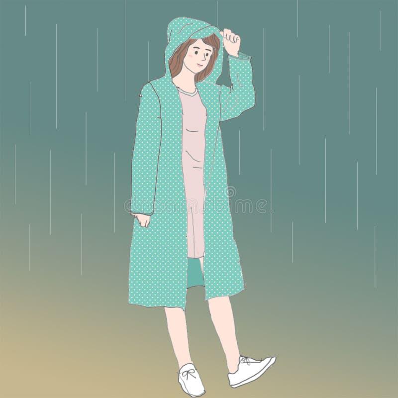 en gullig asiatisk flicka med en grön regnrock royaltyfri illustrationer
