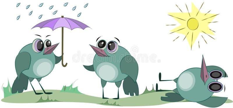 En gullig fågel solbadar i solen gladlynt tecknad filmtecken Regnigt och soligt v?der royaltyfri illustrationer