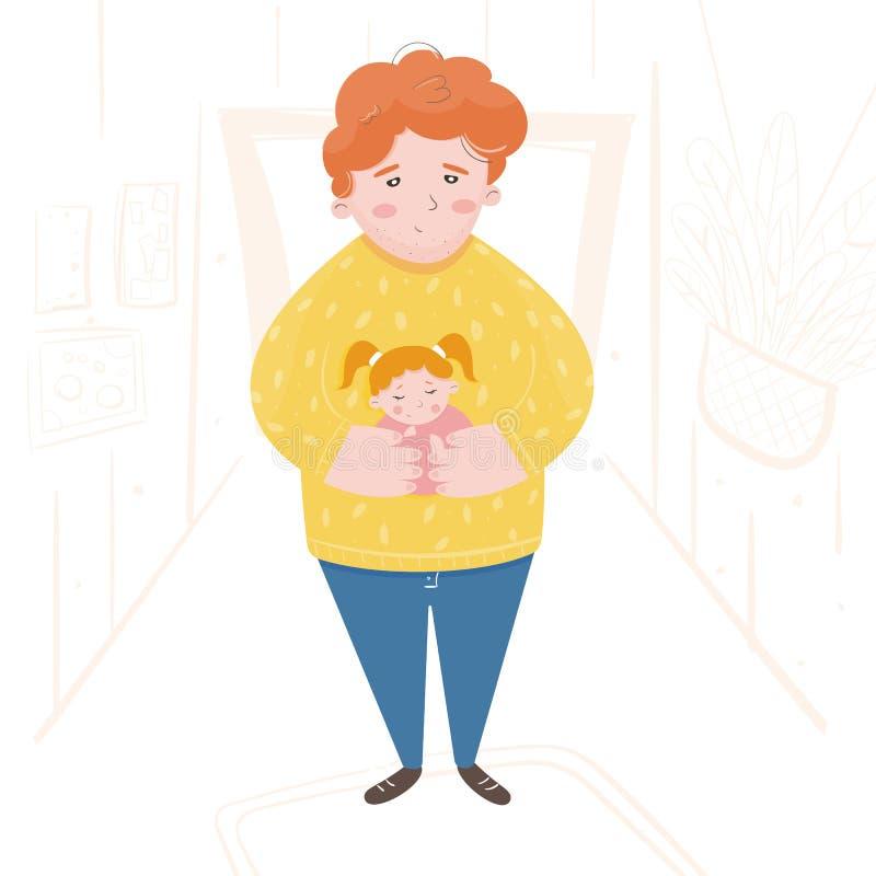 En gullig illustration av en fader som bär en sova dotter arkivfoto