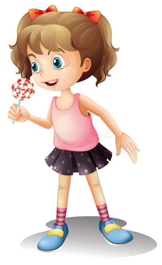 En gullig liten flicka som rymmer en klubba stock illustrationer
