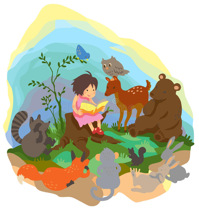 En gullig liten flicka undervisar magi till djur in royaltyfri illustrationer