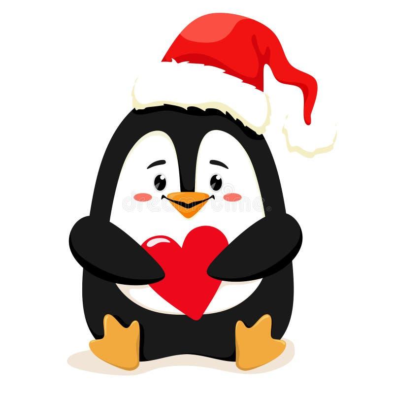En gullig och gladlynt liten pingvin i röd jultomten som hatten med en hjärta i henne tafsar, väntar på jul Vektorillustration i  royaltyfri illustrationer