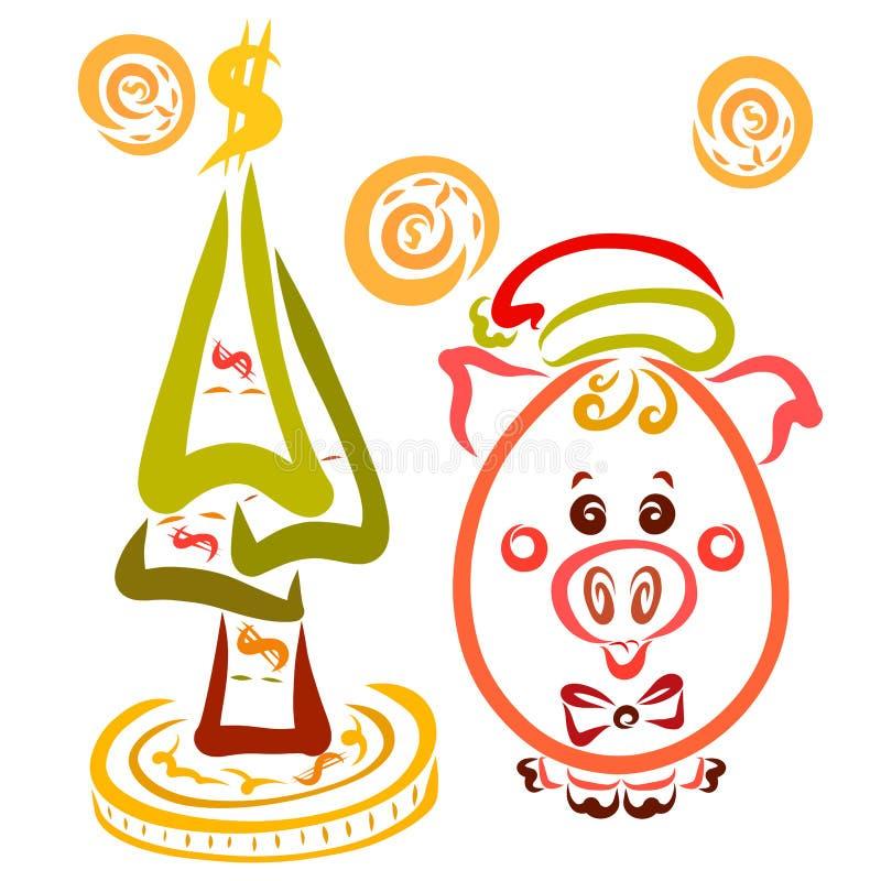 En gullig oval spädgris i ett jullock, en julgran av deras royaltyfri illustrationer