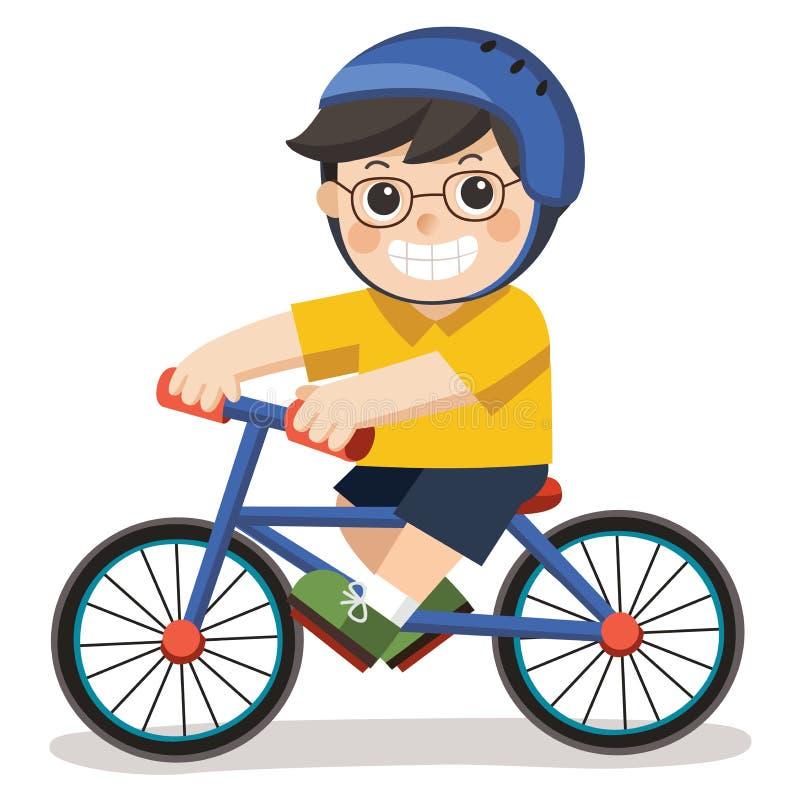 En gullig pojke med exponeringsglas Honom som rider en cykel stock illustrationer