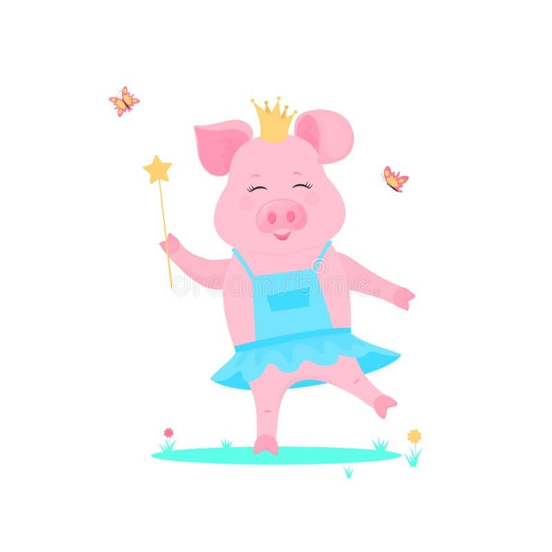 En gullig svinprinsessa i en klänning med en trollspö i hand spelas på en grön gräsmatta Roligt Piggy tecknad filmtecken royaltyfri illustrationer