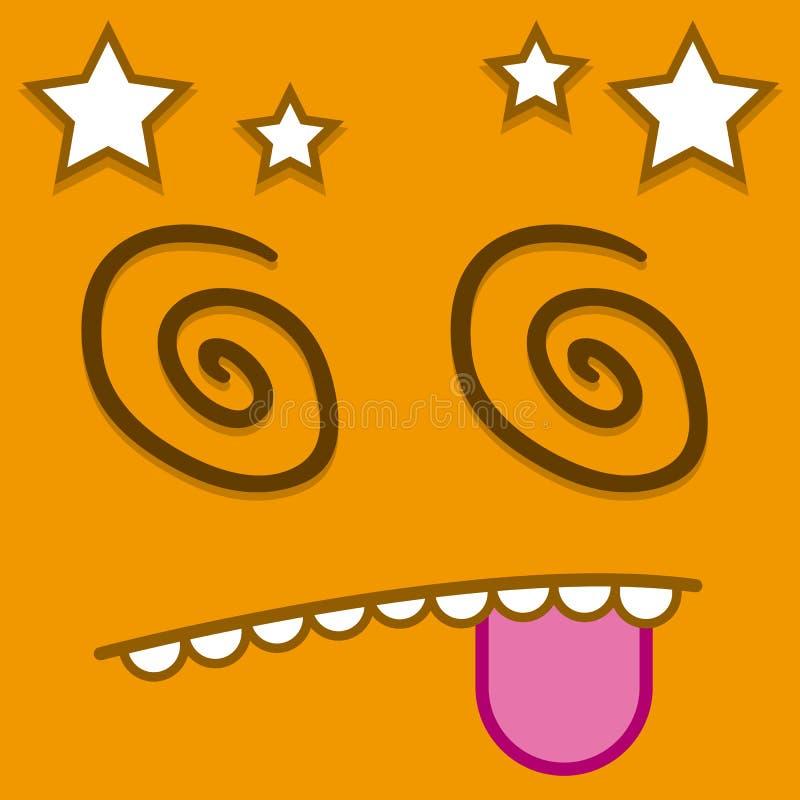 En gullig tecknad filmapelsin Dizzy Face för vektor stock illustrationer