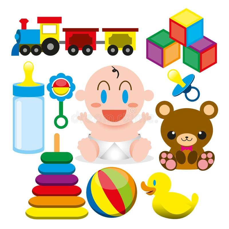 En gullig vektortecknad film behandla som ett barn och olika leksaker och objekt royaltyfri illustrationer