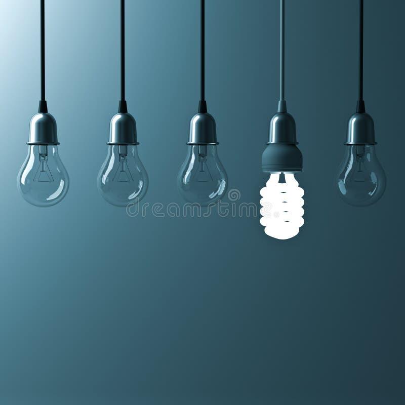 En hängande energi - den sparande ljusa kulan som glöder olik, står ut från unlit glödande kulor royaltyfri illustrationer