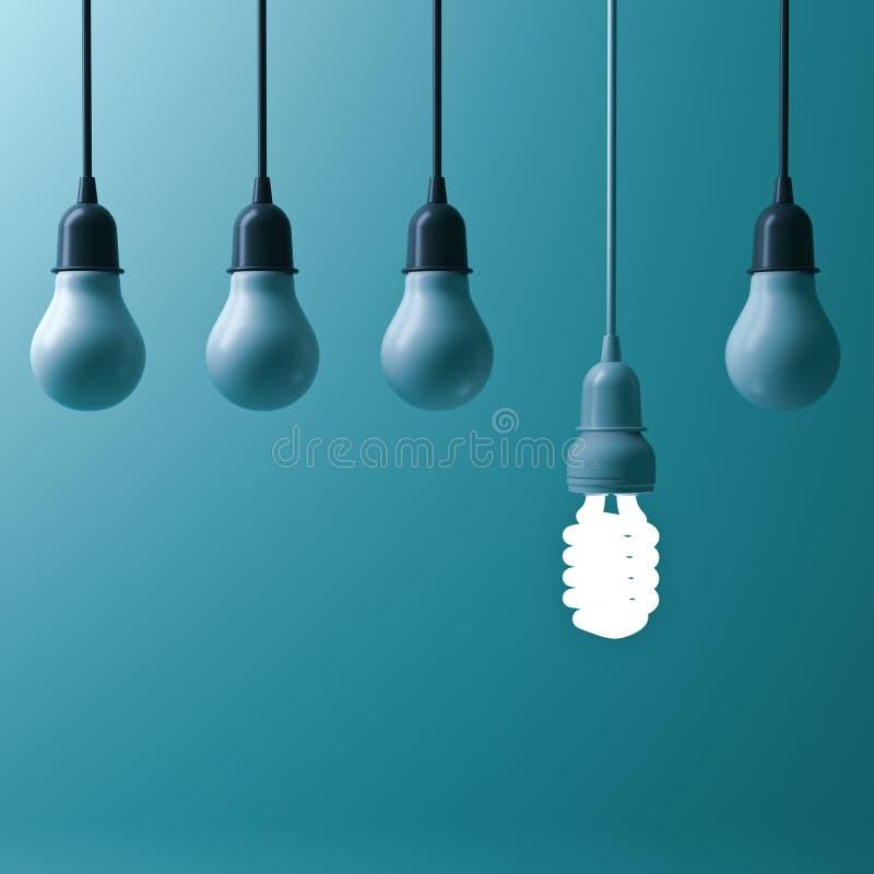 En hängande energi - den sparande ljusa kulan som glöder olik, står ut från unlit glödande kulor vektor illustrationer